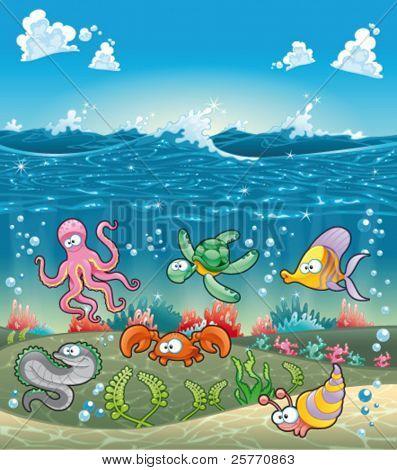Familia de animales marinos bajo el mar. Ilustración de dibujos animados y vector graciosa