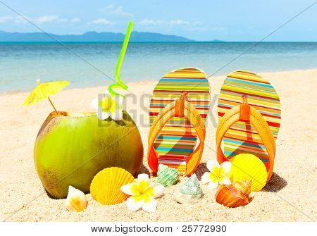 Beach With Palm And And Exotic Coctail