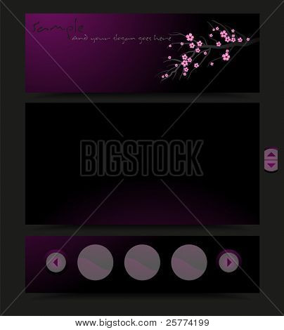 A purple and black colored stylized template for your business, vector.