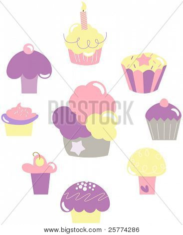 Set of 9 cute cupcakes in pastel colors.