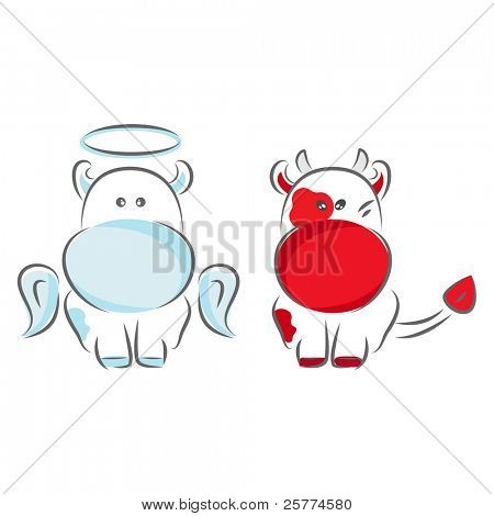 Moxy Patty the Cow Angel and Devil, vector.
