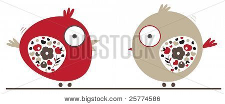 Little fat love birds illustrated with abstract flourish wings.