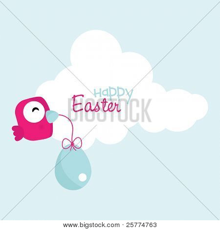Cute little bird holding an easter egg, vector.