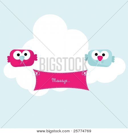 Cute little birds holding banner, vector.