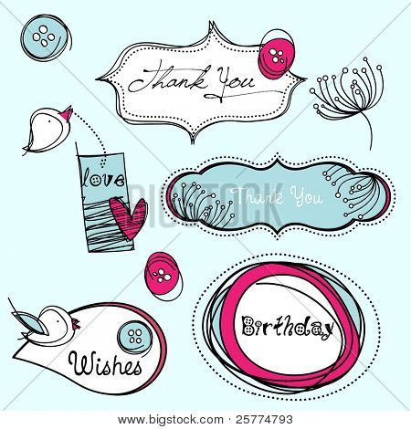 Stylized scrapbook elements, EPS10 vector.