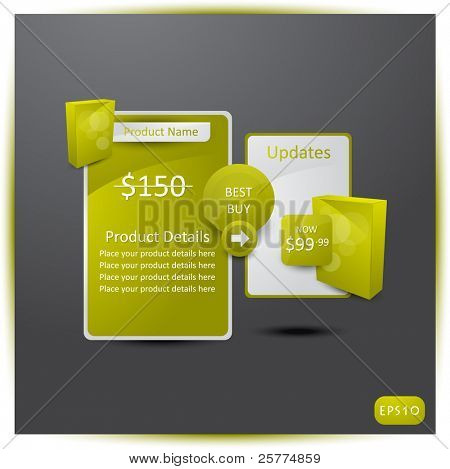 Web elements for Products to sale, vector EPS10.