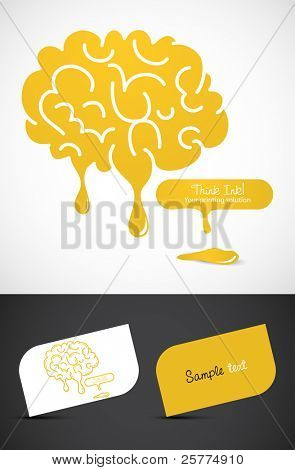Stylized dripping brain, EPS10 vector,