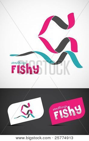 Stylized ribbon fish icon & business cards, EPS10 vector.