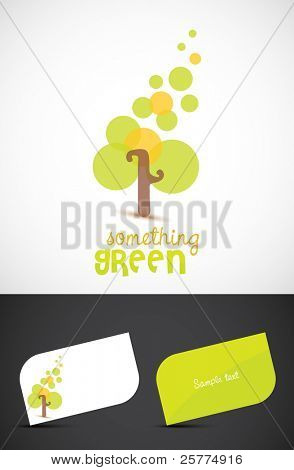 Abstract stylized tree and business cards, EPS10 vector.