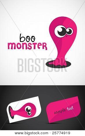 Ícone de bonitinho, simpático monstro & estilizadas cartões de visita, EPS10 vector,