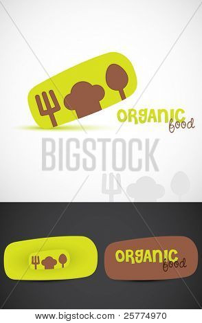 Stylized Icon & business cards for Organic food, Vector EPS10.