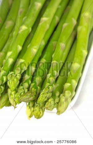 Green Asparagus On A White Background.
