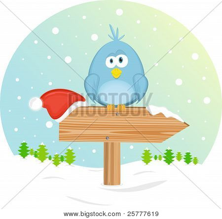 Blue bird on the waymark, vector illustration