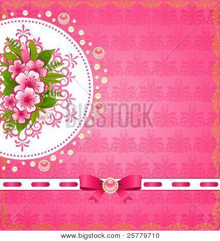 Bouquet of flowers in a decorative frame in the background