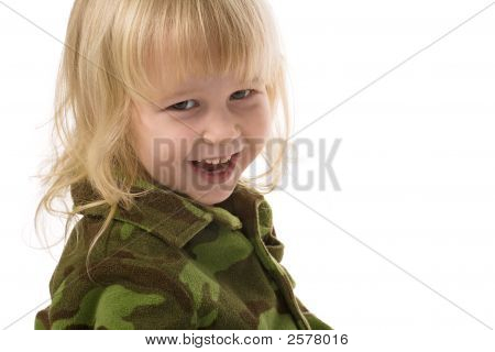 Funny Military Little Girl
