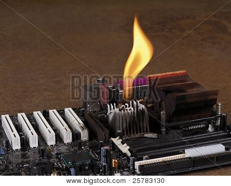 Melting Heat Sink On Computer Board