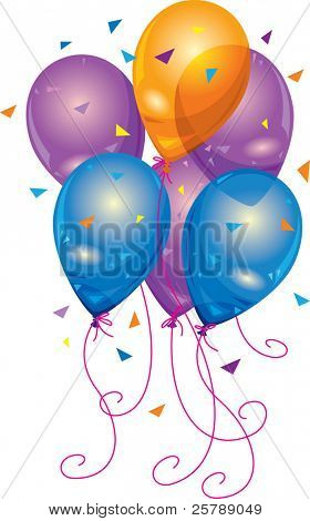 A grouping of purple, orange and blue balloons