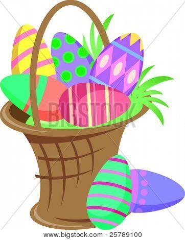 Vector Illustration of a Easter basket full of eggs