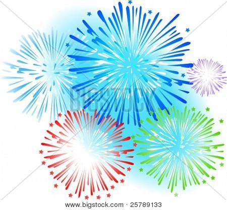 Vector Illustration of fireworks exploding