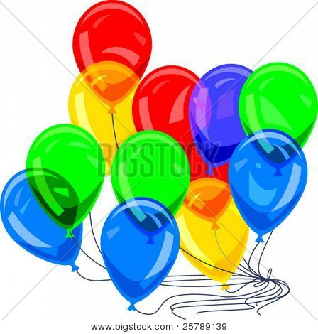 Vector Illustration of Balloons on Strings