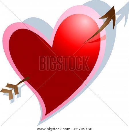 Vector Illustration of a heart with an arrow through it