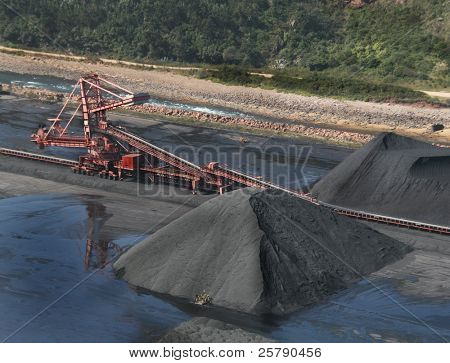 Great mining wheel of coal digger is in action