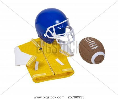 Letterman Jacket Football Helmet And Football