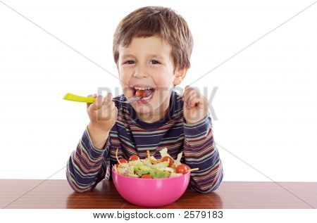 Child Eating Salad