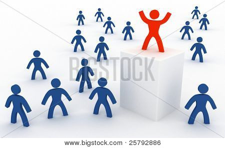 a person in the crowd above the others