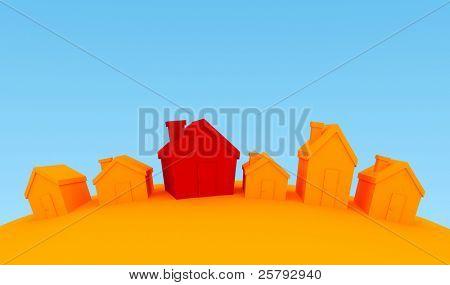 una fila de casas diferentes, una diferencia en el color demasiado