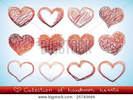 collection of hand-drawn sketch hearts