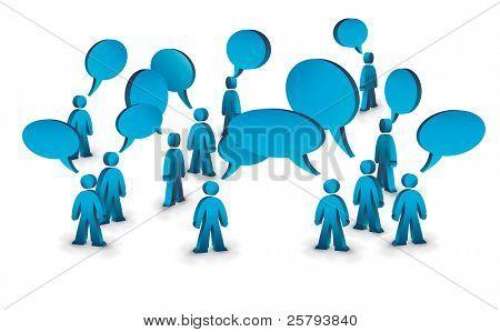 eine Gruppe von Menschen mit Sprechblasen über Ihnen