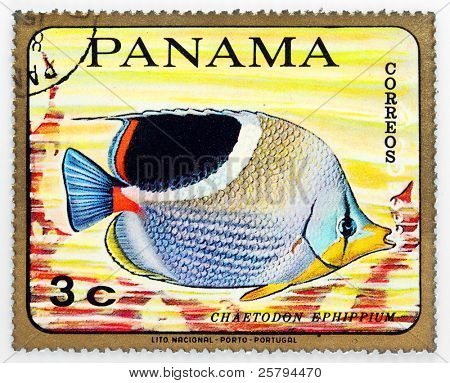 PANAMA - CIRCA 1978: A stamp printed in Panama shows tropical reef fish Chaetodon Ephippium, circa 1978