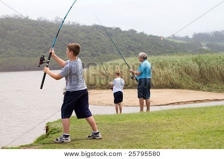 young teenage boy casting a fishing rod