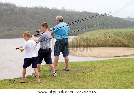 ready to cast fishing rods