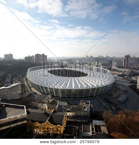 KYIV, UKRAINE - NOVEMBER 24: The Olympic Stadium Under Construction For The UEFA EURO 2012 on November 24, 2011 in Kyiv, Ukraine