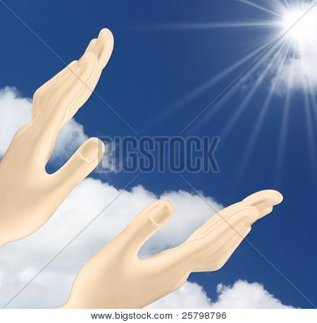 Hands reaching out  the sun