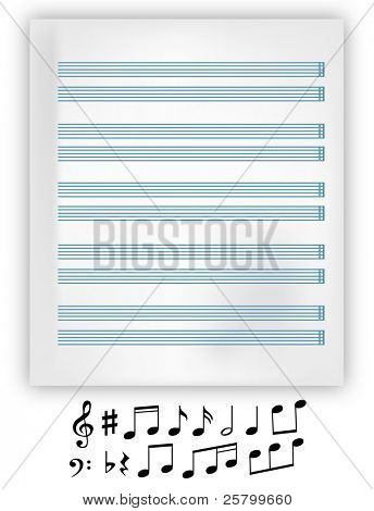 Vector music notation elements and music note sheet.
