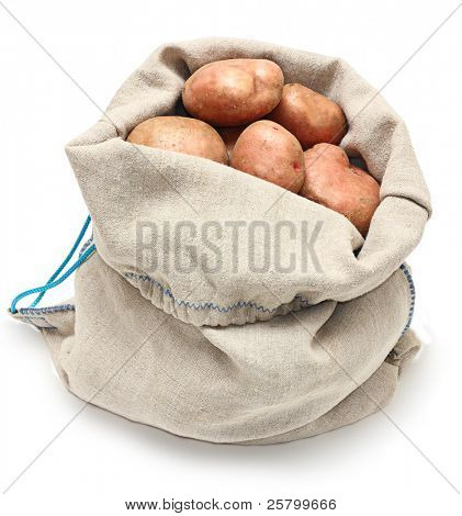 Sack of potatoes raw vegetables isolated on white background.