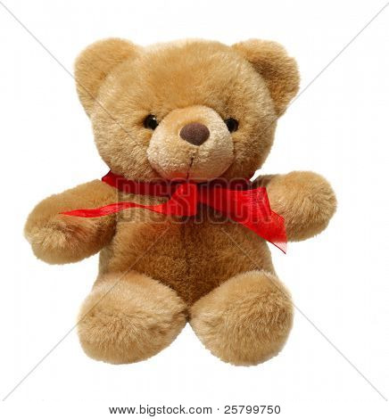 Classic teddy bear with red bow isolated on white background