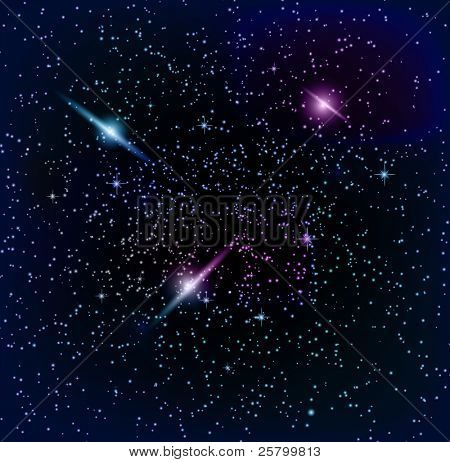 Space background,planet and bright stars in cosmos.  EPS10 vector illustration