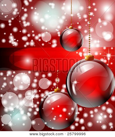 Raster  Xmas or New Year background, red Christmas balls with snowflakes. Vector version is accessible.