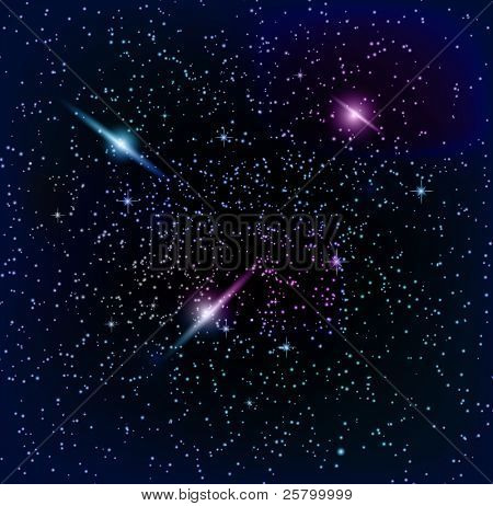 Raster  space background,planet and bright stars in cosmos.Vector version is accessible.