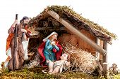 Christmas Nativity Scene With Holy Family In The Hut, Isolated On White Background poster