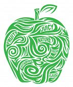 Stylized apple with a thematic words