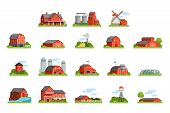 Farm House And Constructions Set, Agriculture Industry And Countryside Buildings Vector Illustration poster