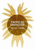 Tropical Paradise Gold Leaf Vector Template. Cool Floral A4 Design. Exotic Tropic Plant Leaf Vector. poster