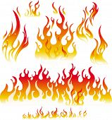 Fire graphic elements on white background