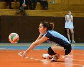 KAPOSVAR, HUNGARY - OCTOBER 16: Karmen Kovacs in action at the Hungarian NB I. League woman volleyba