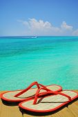 picture of convection  - Orange flip flop sandals on dock overlooking gorgeous ocean with boat in distance - JPG